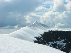 The highest mountain in Sweden, the southern summit of Kebnekaise and the knife edge ridge.