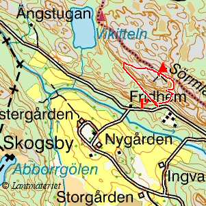 Topo map, Skogsbyås in Södermanland