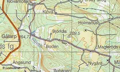 Topo map, Magleröd in Skåne Province and County