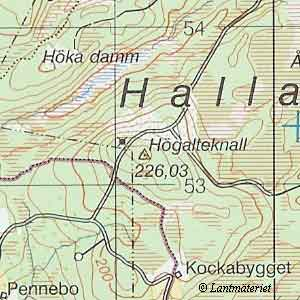Topo map, Högalteknall in Halland Province and County