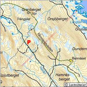 Topo map, Granberget in Värmland